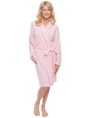 Women's Cozy Rib Knit Jersey Knee-Length Soft Robe - Pink
