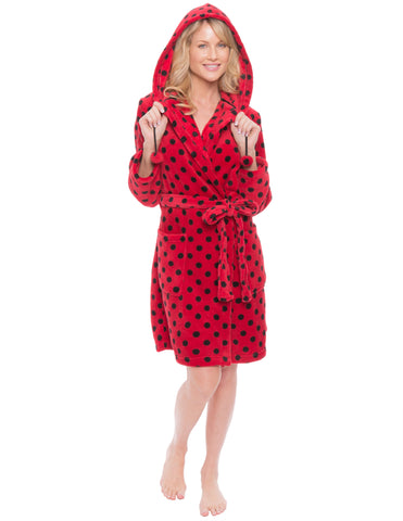 Women's Premium Coral Fleece Plush Spa/Bath Short Hooded Robe - Polka Dots - Red/Black