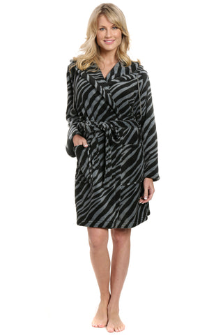 Women's Premium Coral Fleece Plush Spa/Bath Short Hooded Robe - Zebra - Charcoal/Black