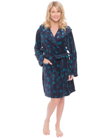 Women's Premium Coral Fleece Plush Spa/Bath Short Hooded Robe - Snow Leopard - Navy/Teal