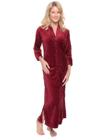 Women's Premium Coral Fleece Plush Caftan - Diamond Red Wine