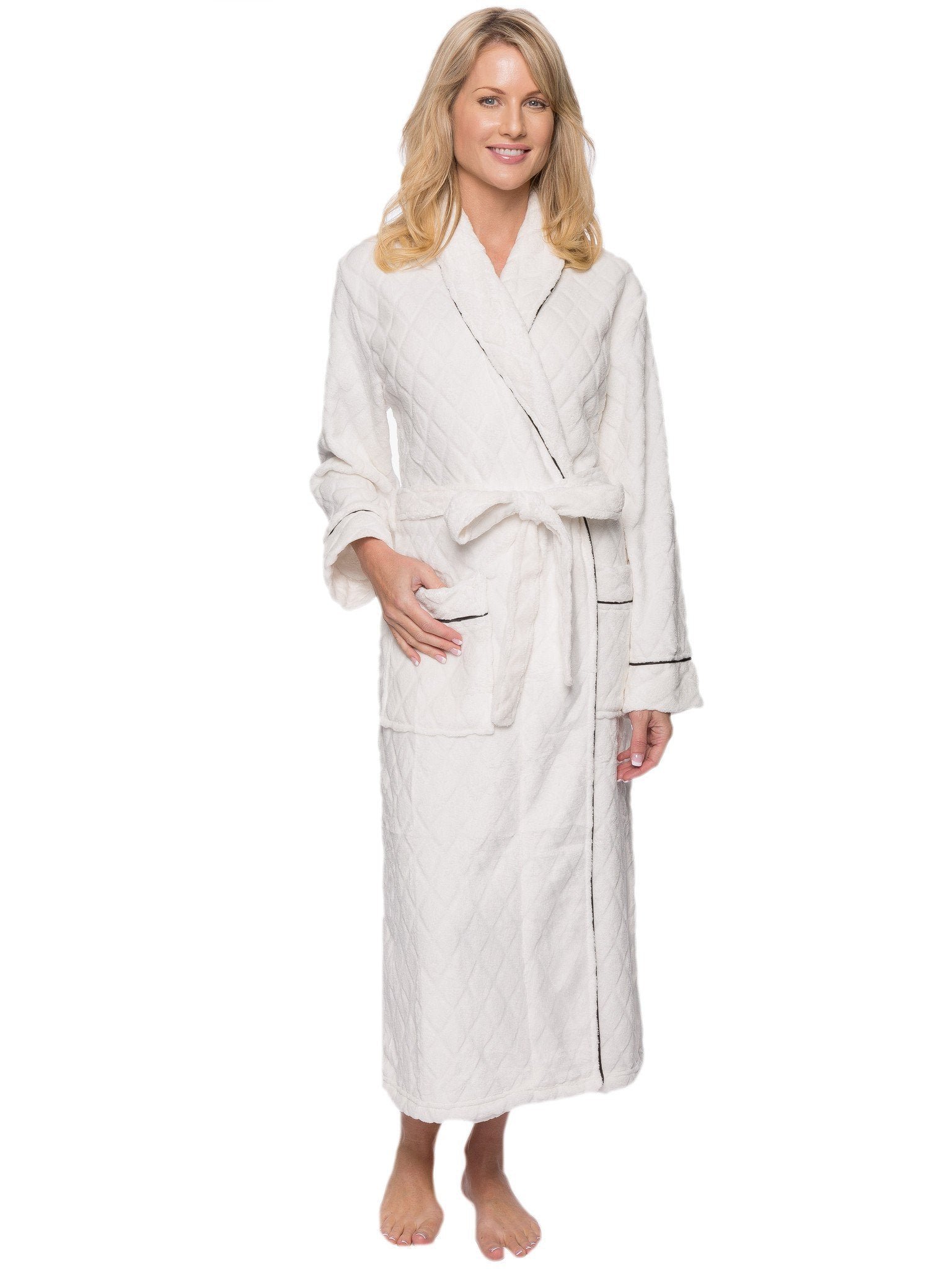 Women's Premium Coral Fleece Plush Spa/Bath Robe - Diamond Cream