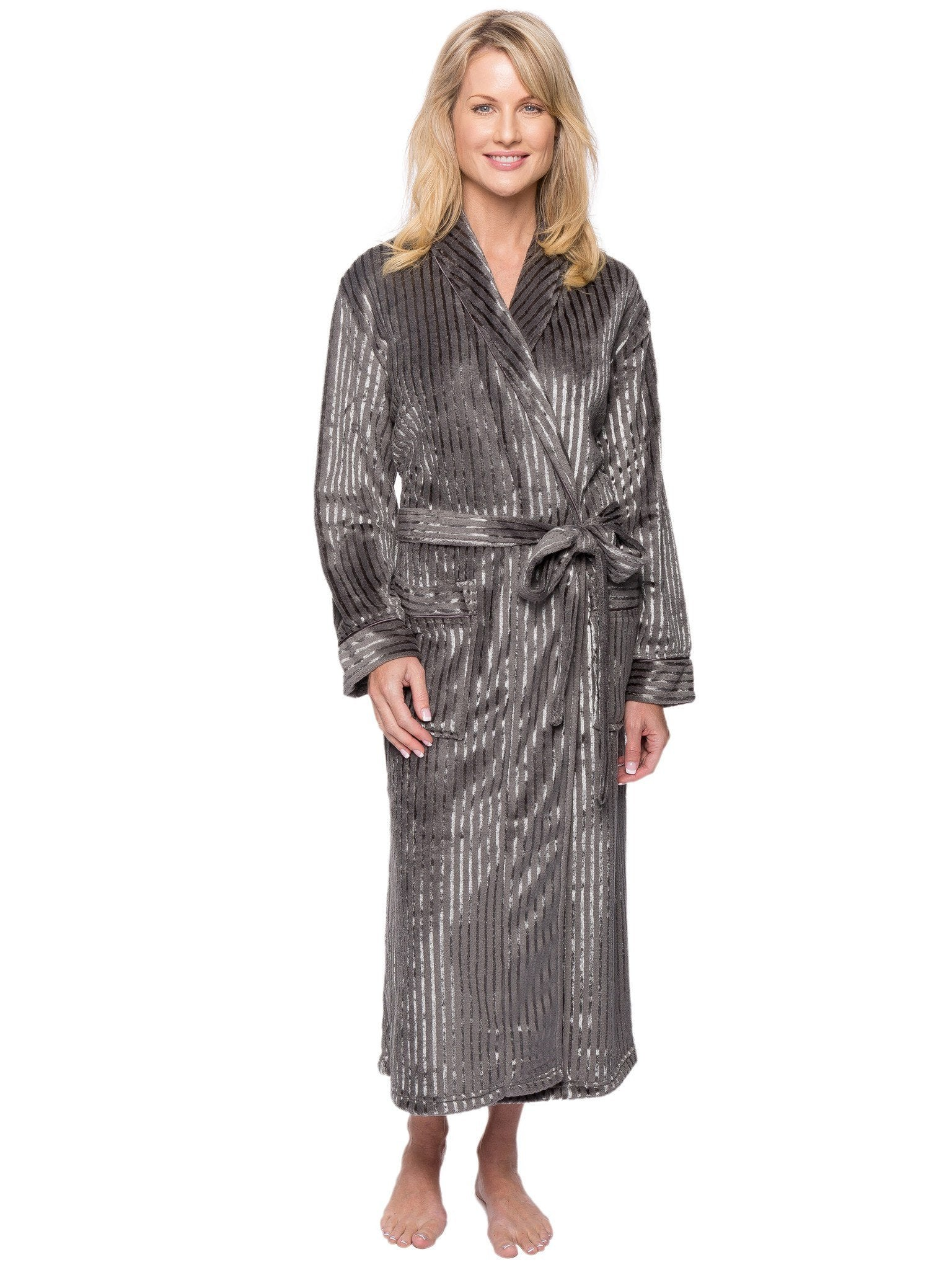 Women's Premium Coral Fleece Plush Spa/Bath Robe - Stripes Dark Grey