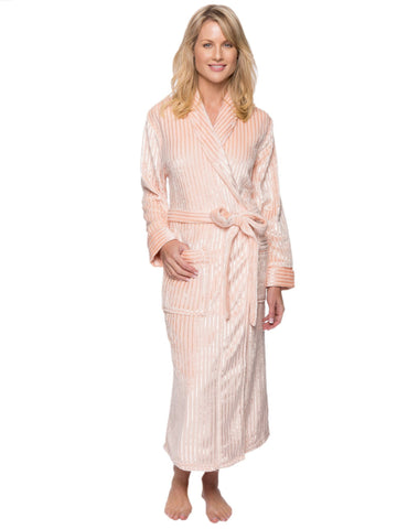 Women's Premium Coral Fleece Plush Spa/Bath Robe - Stripes Pink