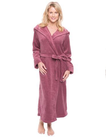 Women's Premium Coral Fleece Plush Spa/Bath Hooded Robe - Mauve