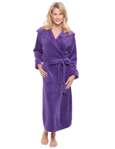 Women's Premium Coral Fleece Plush Spa/Bath Hooded Robe - Purple