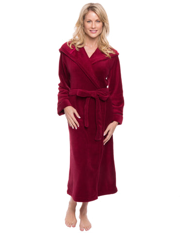 Women's Premium Coral Fleece Plush Spa/Bath Hooded Robe - Red