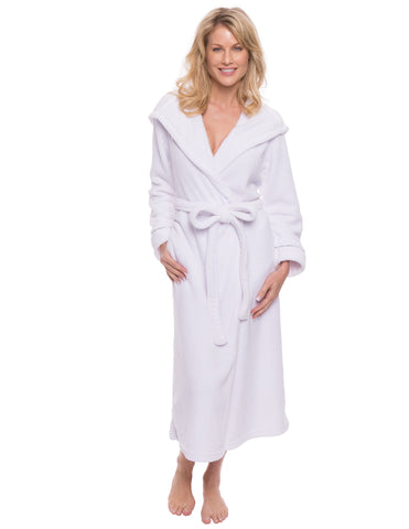 Women's Premium Coral Fleece Plush Spa/Bath Hooded Robe - White
