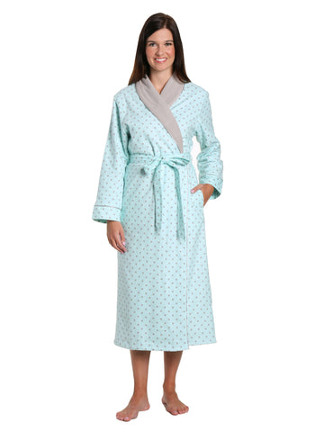 Women's Premium Flannel Fleece Lined Robe - Dots Diva Aqua-Gray