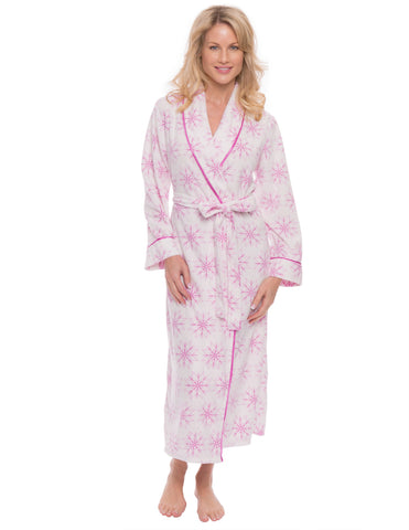 Womens Microfleece Robe - Snowflakes White/Purple