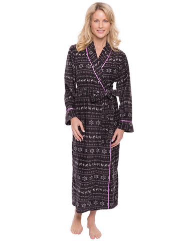 Womens Microfleece Robe - Nordic Iron/Lilac