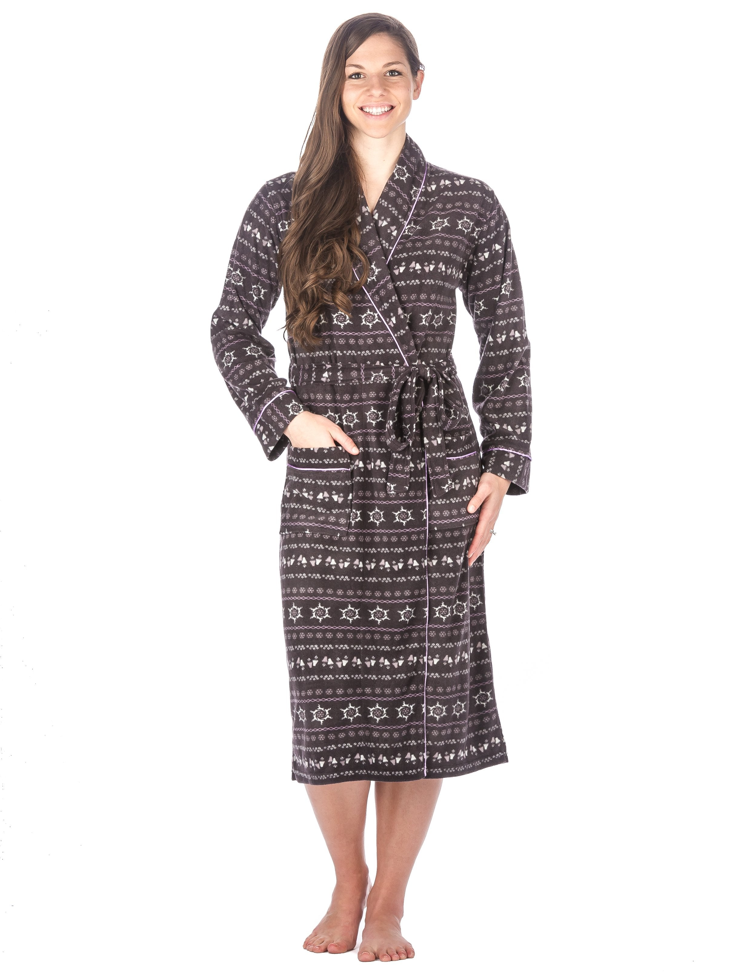 Womens Microfleece Robe - Nordic - Dark Gray