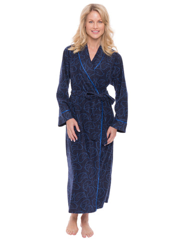 Womens Microfleece Robe - Bird Maze Navy