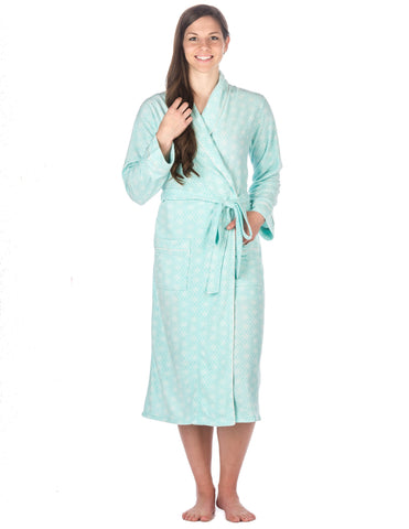 Womens Microfleece Robe - Geoflakes - Blues