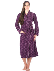Womens Microfleece Robe - Hearts - Purple