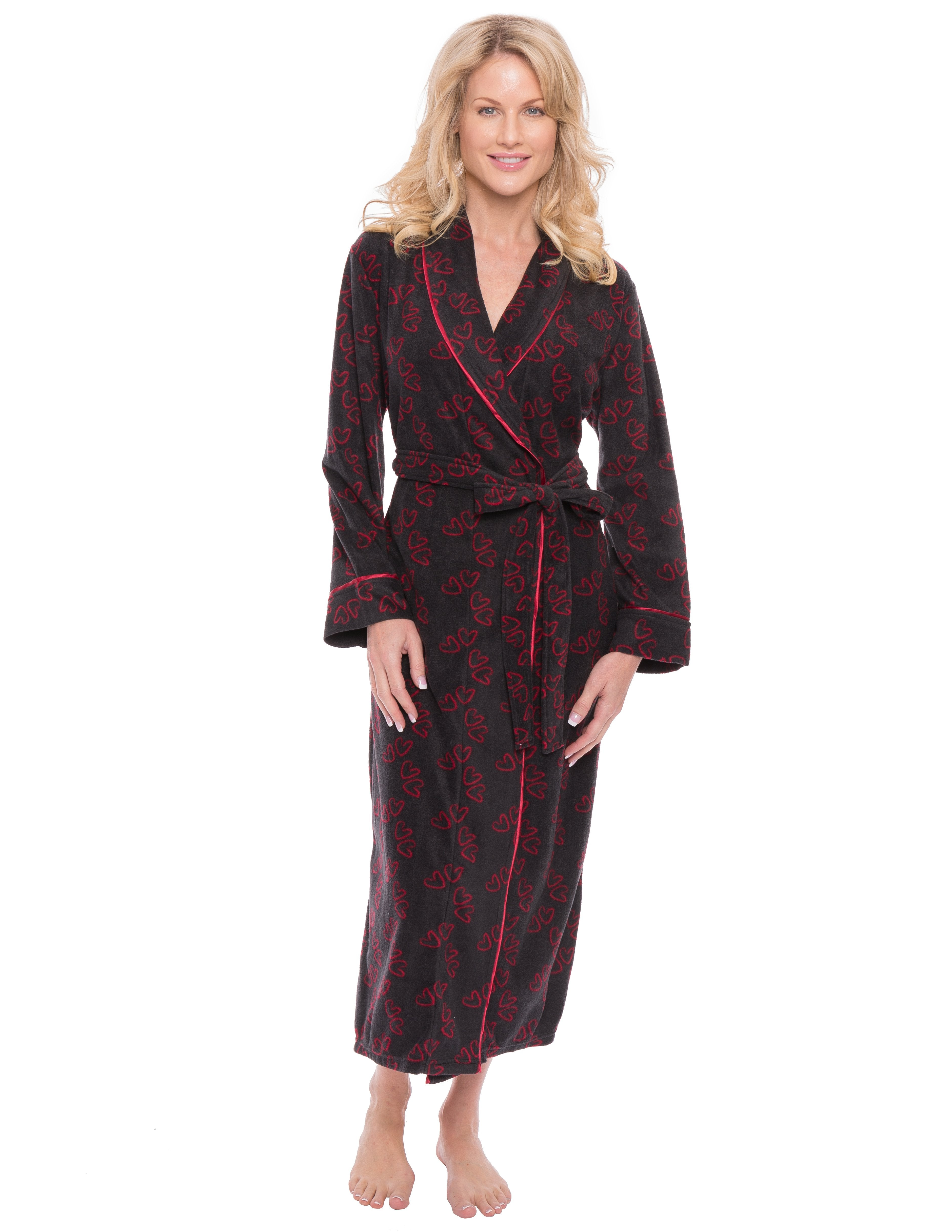 Womens Microfleece Robe - Hearts Black/Red