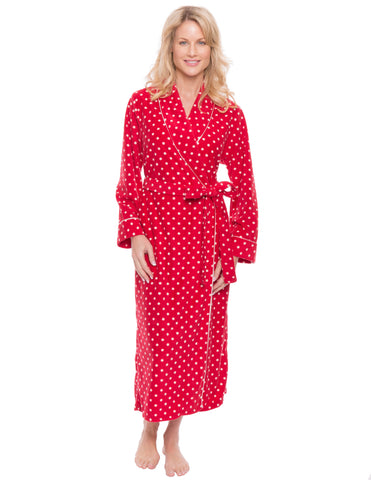 Womens Microfleece Robe - Dots Diva Red/White