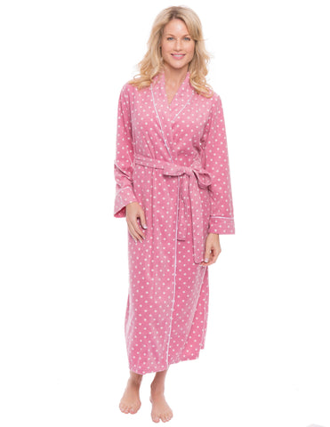 Womens Microfleece Robe - Dots Diva Pink/White
