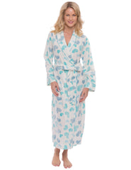 Womens Microfleece Robe - Scribbled Hearts White/Blue