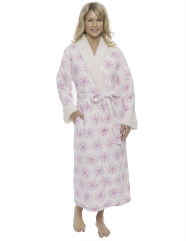 Womens Premium Microfleece Shearling Lined Robe - Snowflakes White/Purple
