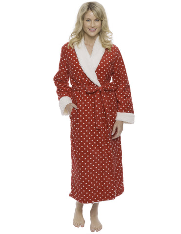 Womens Premium Microfleece Shearling Lined Robe - Dots Diva Red/White