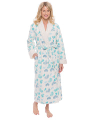 Womens Premium Microfleece Shearling Lined Robe - Scribbled Hearts White/Blue