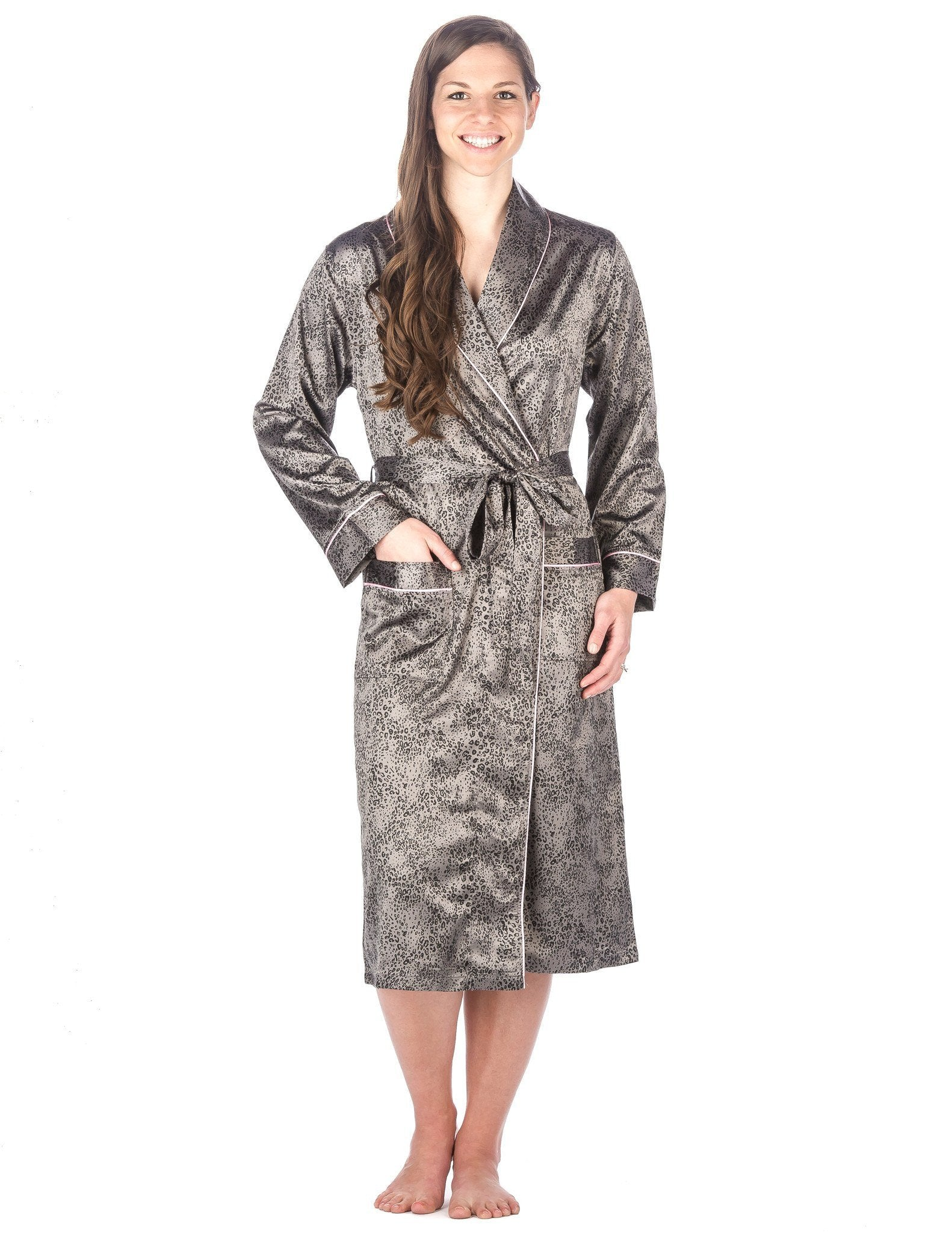 Women's Premium Satin Robe - Leopard - Gray/Black