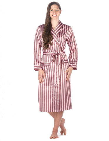 Women's Premium Satin Robe - Stripes Pink