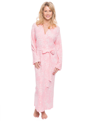 Women's Waffle Knit Thermal Robe - Leopard Pink/Grey