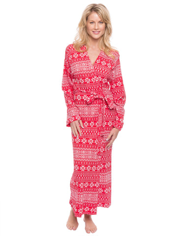 Women's Waffle Knit Thermal Robe - Fair Isle Red/White