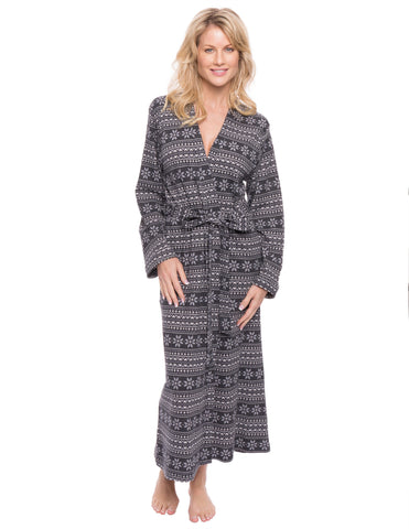 Women's Waffle Knit Thermal Robe - Snowflake Bands - Navy/Grey