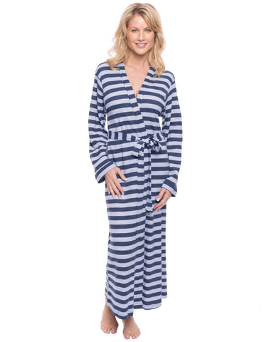 Women's Waffle Knit Thermal Robe - Stripes Blue