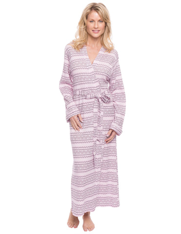 Women's Waffle Knit Thermal Robe - Geo Nordic Lilac