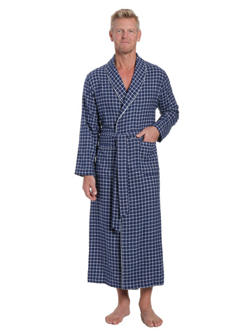 Men's 100% Cotton Flannel Long Robe - Checks Navy-Blue