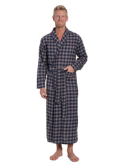 Men's 100% Cotton Flannel Long Robe - Gingham Charcoal-Navy