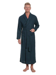Men's 100% Cotton Flannel Long Robe - Gingham Navy-Green