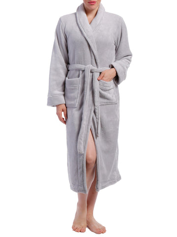 Women's Coral Fleece Plush Robe - Grey
