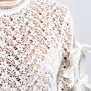 Lace Top with Tie Up Sleeves