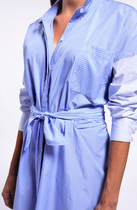 Striped Front Tie Button Down Shirt Dress