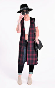 Perfect Long Plaid Vest with Pockets