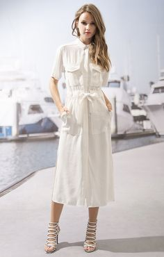 2 Pocket Button Down Midi Dress