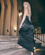Satin T Strap Back Maxi Dress