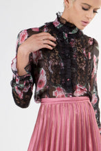 Floral Print Blouse with Lace Trim