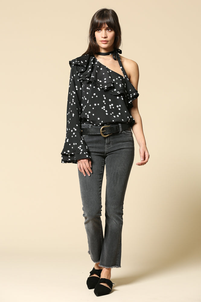 Star Print One Shoulder Top with Choker