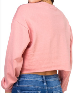 Cropped Crew Neck Sweater with Raw Hem