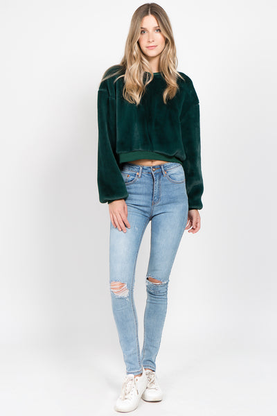 Cropped Fur Sweater