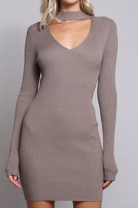 Long Sleeve Ribbed Choker Sweater Dress