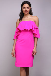 Cha Cha Cha Off The Shoulder Ruffle Dress with Back Cut Out