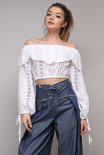 Eyelette Off the Shoulder Crop Top