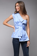 One Shoulder Button Down A-Line Top